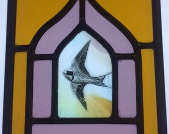Mini stained glass window with hand painted swallow