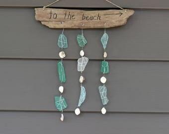 """Suncatcher, """"to the beach"""", seaglass, shells, blue, green, clear, natural driftwood"""