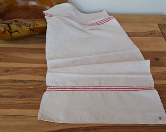 Antique C. 1920 French Dish Towel Homespun Organic Flax Pure Linen Tea Towel V Monogrammed