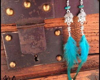 """Earring Silver """"Buddha and turquoise"""""""