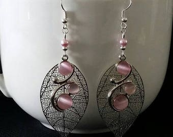 """Silver plated Rose"" earrings 7 cm"