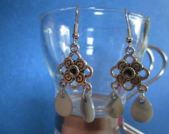 Earrings blue drop Pearl sequins water