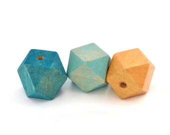 3 large polygon beads turquoise blue and gold 20mm