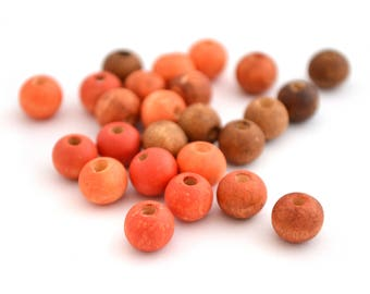 Mix of 25 beads orange and Brown wood 8 mm round