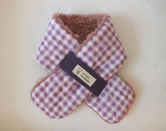 Child girl faux fur Terry pink and purple Plaid scarf