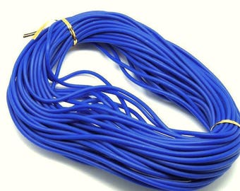 1 meter cord Buna rubber - round (4mm) - with hole (1. 8 mm) - Blue - RUBRD416BLE607