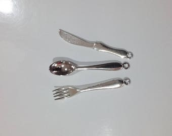 Cutlery fork knife spoon charms