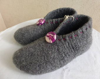 WOMAN SIZE FELTED WOOL SLIPPERS DARK GRAY 39/40