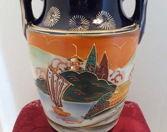 6 inch handled Satsuma Style Vase with Fishing Scene, Vintage Made in Japan