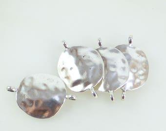 5 large silver Medallion connectors