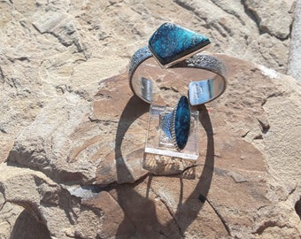 Beautiful Blue Spiderweb Turquoise Tufa Cast Sterling Silver Bracelet and Ring