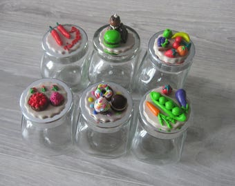Small spice jars with lids decorated with fimo sold individually (all available except candy and chocolate)