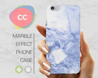 Blue White Marble - iPhone 8 Case - iPhone 7 Case - iPhone X, iPhone 8 Plus, 7, 6, 6S, 5S, SE Cases - Samsung S8, S7, S6 Cases - PC-323