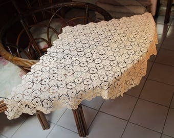New doily hand crotheted cotton romboid shape tablecloth