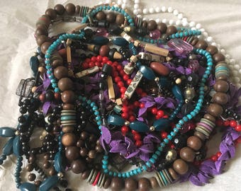 Z7, Mixed Vintage to now beaded necklaces. Preowned, wearable, resellable, necklace lot