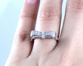 Bow Sterling Silver CZ Engagement Fashion Ring Girl Women's Size 4-10 Ss12151