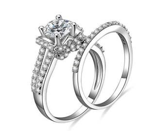 Women's .925 Sterling Silver Cubic Zirconia Wedding Ring Set Size 3-12 Ss1827