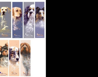 Bookmarks of collection, theme dogs series 1, by the artist Martin deMEZERAC