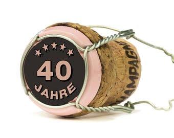 Einladung zum 40. Geburtstag: Champagner Korken