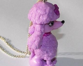 Purple Kawaii poodle dog necklace