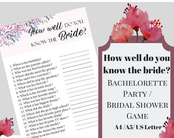 How Well Do You Know The Bride Bachelorette Party Game, Printable Bachelorette Game, Bridal Shower Game, Hens Night Game, Party Game