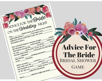 Boho Floral Advice For The Bride bridal Shower Game, Bachelorette Party Game, Printable Bachelorette Game, Hens Night Game,Watercolor Flower
