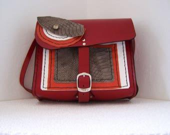 HANDMADE RED LEATHER MESSENGER BAG