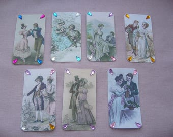 Set of 7 retro embellishments made hand, pictures, labels, tags - romantic lovers - rhinestones
