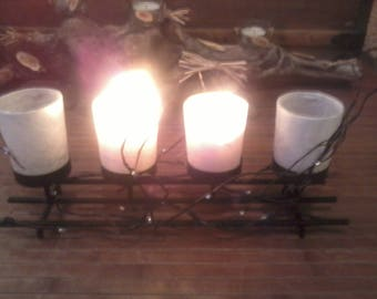 "Candle black and white ""Quartet branch"""