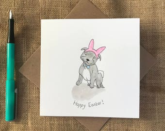 Hand painted staffy wearing bunny ears easter card