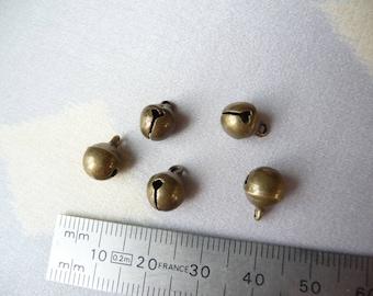 Set of 5 bells metal bronze