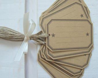 Set of 16 school of Kraft tags with Star (horizontal)