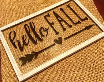 Hello Fall Sign - Window Pane Sign - Farmhouse Decor