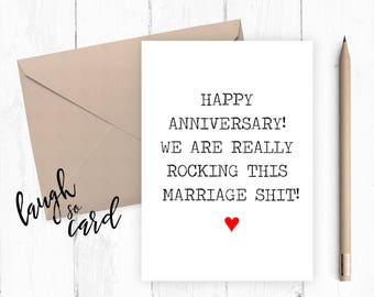 Anniversary card, wedding anniversary,  wife anniversary Card,, husband anniversary, funny cards, rude card | Marriage shit