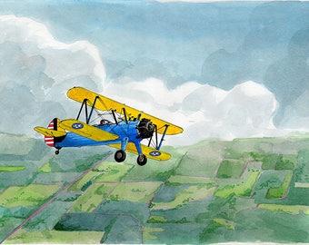 Boeing Steerman 8x10 Watercolor