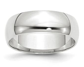 New 10K Solid White Gold 6mm Men's and Women's Wedding Band Ring Sizes 4-14. Solid 10k White Gold, Made in the U.S.A.