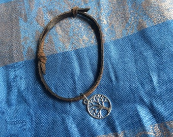 Tree Of Life Leather Anklet