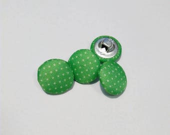 Lot 4 buttons green polka dot, metal and fabric 15 mm