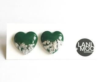 Heart Green Resin Stud Metallic Silver Leaf Statement Earrings!