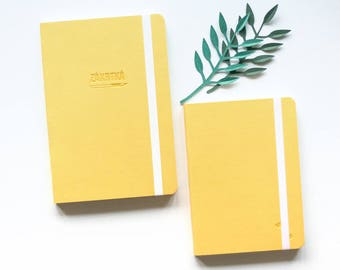 Couple Of Two Yellow Minimalist Notebooks Eco Leather Cover Eco Friendly Sketchbook Blank Pages Dot Grid Bullet Journal Notebook
