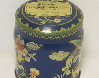 Vintage Kemps Blue and Multi Oriental Design Lidded Chocolate Table Fingers Tin