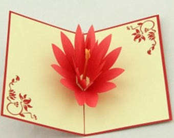 Handmade origami papercraft art 3D pop up popup red lotus birthday Valentine's day gift for her mother's day Easter wedding invitation card