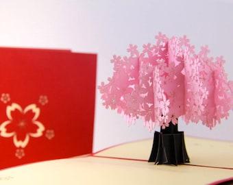 Handmade 3D pop up popup card pink Sakura cherry blossom tree birthday Valentines mother's day wedding engagement card hen party invitation