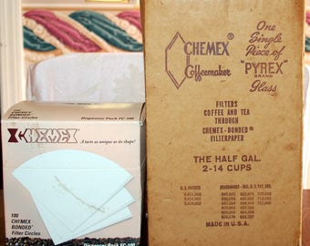 "Vintage Chemex coffee maker. 2-14 cup, 11"" tall. in original box, with filters"