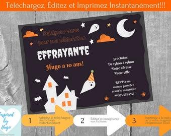 Invitation d'Halloween fête d'anniversaire d'enfants, Halloween, Téléchargement Instantané, Invitation en français Éditable à Personnaliser