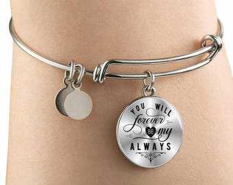 Love bangle bracelet - You will forever be my always