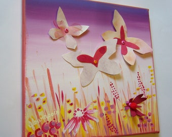 "fabric deco room girl ""wings and flowers"""