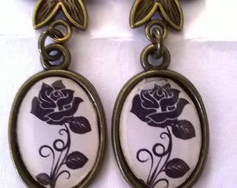 Earrings bronze earrings stunning beautiful black rose cabochon hex symbol for eternal happiness