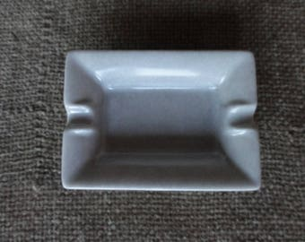 Handpainted in grey white porcelain rectangular ashtray