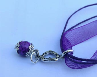 Purple organza and Pearl Necklace glass